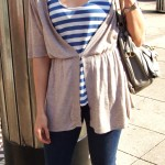 Hannah:  Denim jeggings Blue horizontal striped tank Taupe cardigan